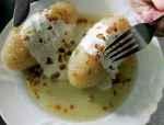 Tradiciniai tarkuotų bulvių cepelinai su kalakutiena