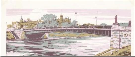 Žaliasis tiltas 1962 m., dailininkas A. V. Pletnevas.Iš H. Kebeikio kolekcijos, 2011.