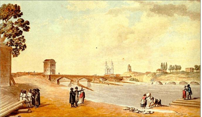 """J. Peškos akvarelė Žaliasis tiltas. Iš V. Drėmos knygos """"Dingęs Vilnius"""" (1991), p. 376, (iliustracija 603)."""